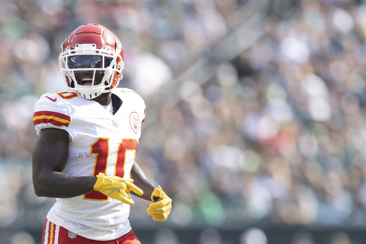 Tyreek Hill #10 of the Kansas City Chiefs looks on against the Philadelphia Eagles at Lincoln Financial Field on October 3, 2021 in Philadelphia, Pennsylvania.