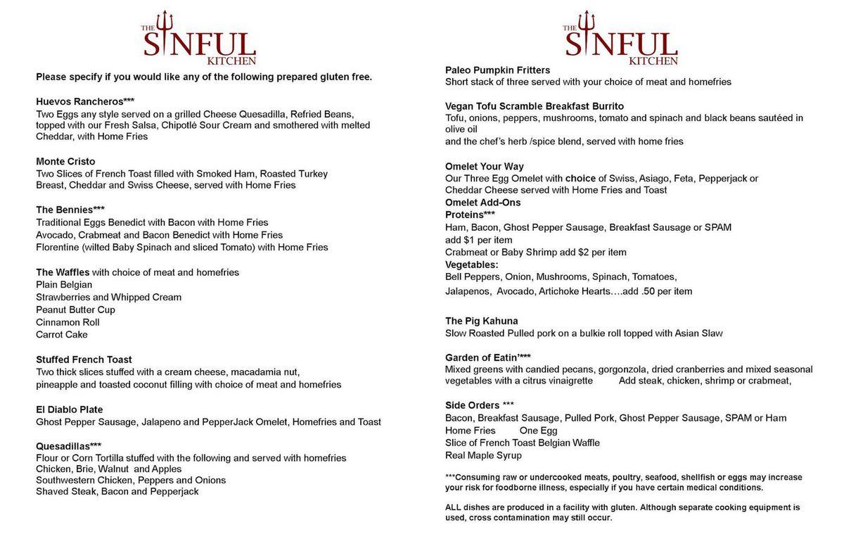 sinful kitchen preview menu fb