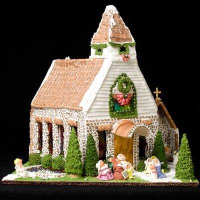 Amazing decorative gingerbread chapel.
