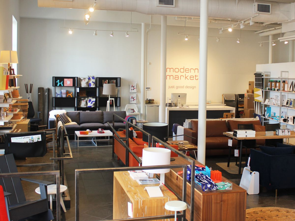 The interior of Modern Market in New Orleans. There are various items of furniture and design on display in a room.