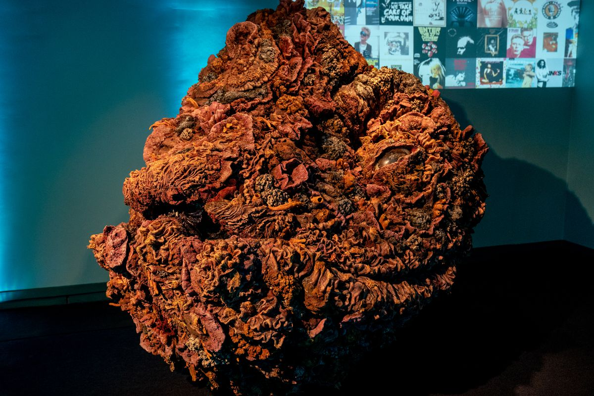 One of the original Mother props from Wendy — a kind of large orange rock, textured like a coral reef, all in oranges and browns with sleepy lidded eyeballs in the middle —sits in Louisiana's Audubon Aquarium at the Wendy premiere party.