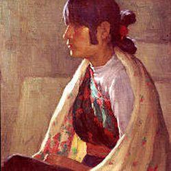 """Crucita Taos, Indian Girl"" (oil on board) by Joseph Henry Sharp (1859-1953)"