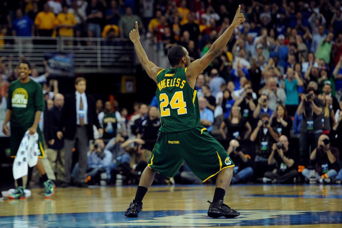 OMAHA, NE - MARCH 16:  Brandon Wheeless #24 of the Norfolk State Spartans celebrates after they won 86-84 against the Missouri Tigers during the second round of the 2012 NCAA Men's Basketball Tournament.  WAY TO RUIN IT FOR EVERYONE NORFOLK STATE