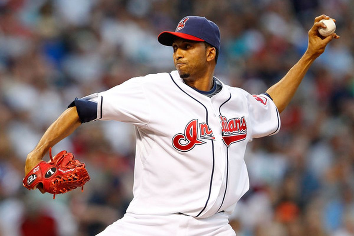 CLEVELAND - JULY 29:  Rafael Perez #53 of the Cleveland Indians pitches against the New York Yankees during the game on July 29 2010 at Progressive Field in Cleveland Ohio.  (Photo by Jared Wickerham/Getty Images)