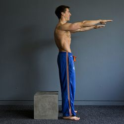 <b>Squat tap</b><br> One important thing to remember about the squat tap is that you never actually <i>sit</i> on the surface that serves as the end point for your squat. That means you don't need special equipment for this move. A step stool, box, or a