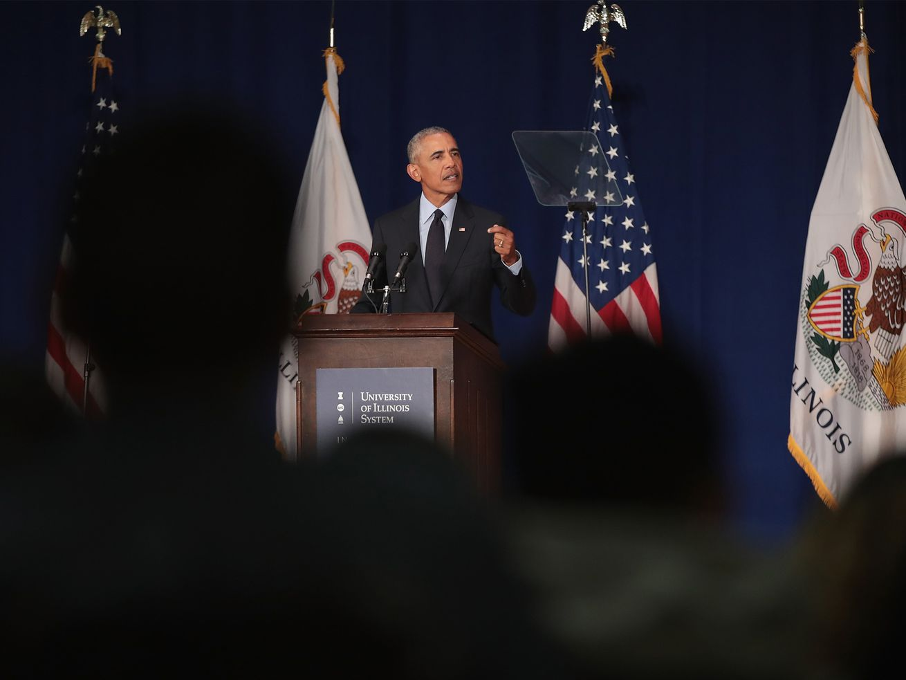 Former President Barack Obama speaks to students at the University of Illinois, where he accepted the Paul H. Douglas Award for Ethics in Government on September 7, 2018.