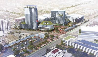 Aerial rendering of mixed use complex
