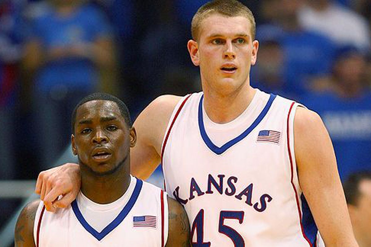 Senior Sherron Collins and junior Cole Aldrich of Kansas were honored as Big 12 Co-Players of the Year according to a poll of Big 12 head coaches.