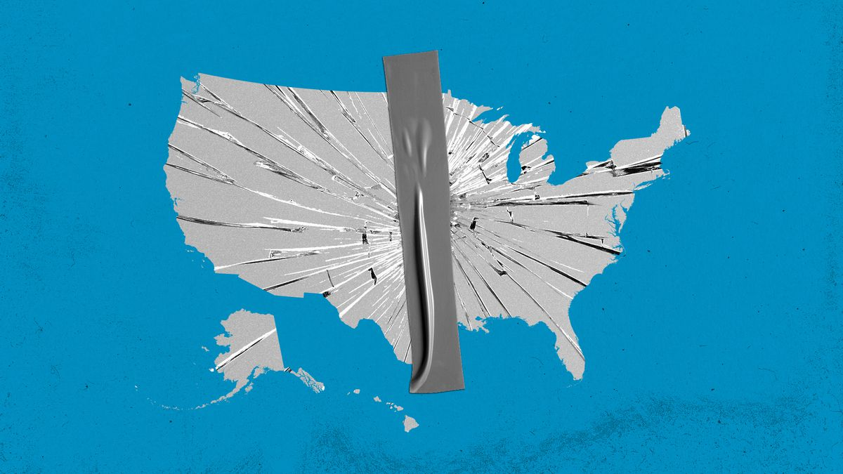 A stripe of duct tape holding together a shattered United States.