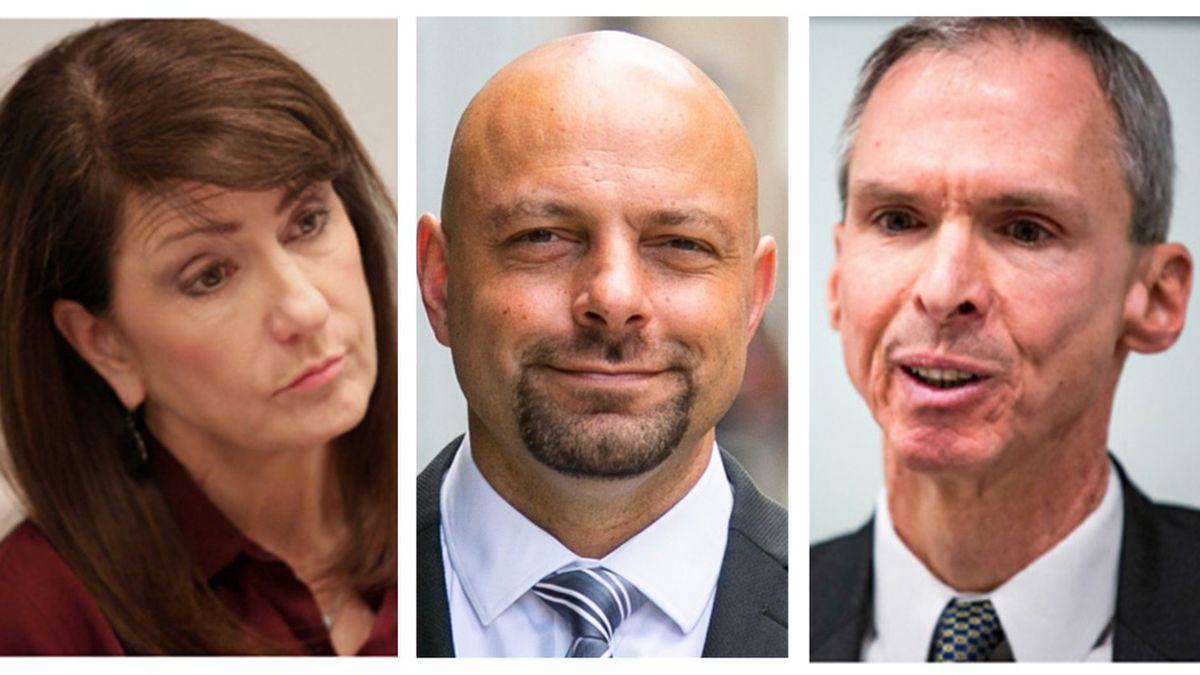 Marie Newman, Rush Darwish and Rep. Dan Lipinski, D-Ill.