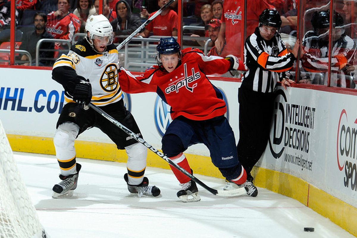 WASHINGTON - SEPTEMBER 28:  Cody Eakin #50 of the Washington Capitals and Matt Bartkowski #43 of the Boston Bruins battle for the puck at Verizon Center on September 28 2010 in Washington DC.  (Photo by Greg Fiume/Getty Images)