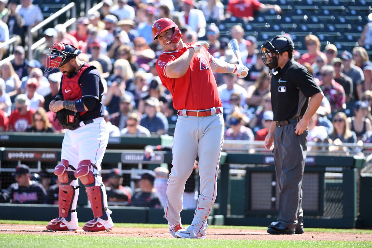 Mike Trout of the Los Angeles Angels gets ready to step into the batters box against the Cleveland Indians during a spring training game at Goodyear Ballpark on March 03, 2020 in Goodyear, Arizona.