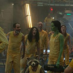 Star-Lord/Peter Quill (Chris Pratt), from left, Groot (Voiced by Vin Diesel), Rocket Racoon (Voiced by Bradley Cooper), Drax the Destroyer (Dave Bautista) and Gamora (Zoe Saldana) in Marvel's Guardians of the Galaxy.