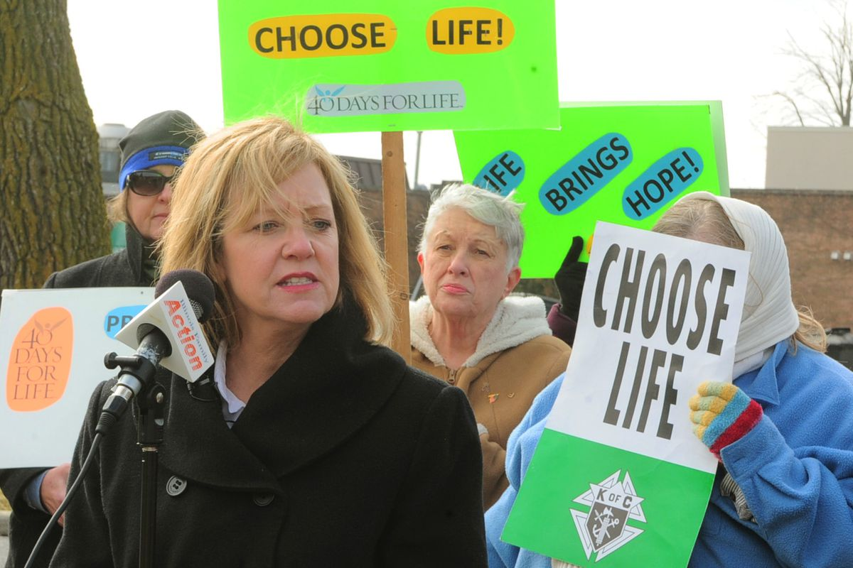 Republican Jeanne Ives at an anti-abortion rally in 2018.