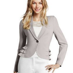 """<a href=""""http://www.hm.com/us/conscious-collection?cm_mmc=NewsletterNTR-_-20120412-_-US-_-conscious-collection#collection/woman/24"""">Ruffled blazer</a>, $49.95"""