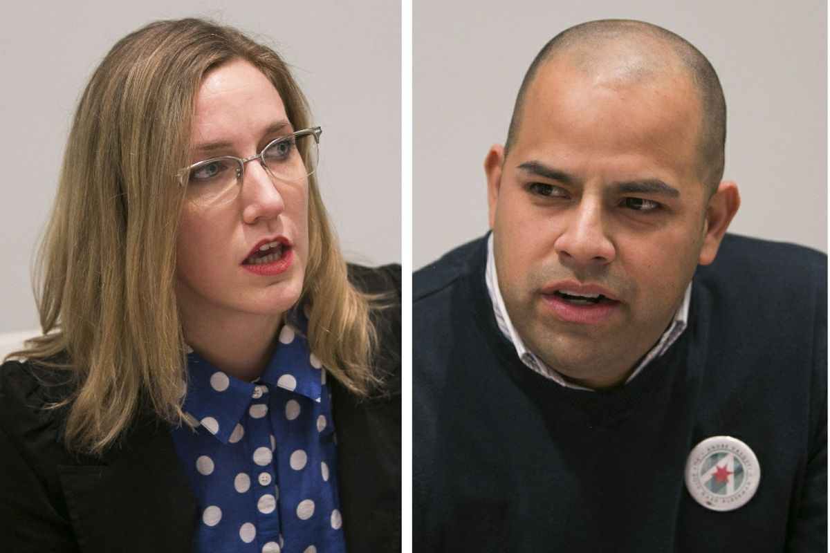 Maggie O'Keefe, left; Andre Vasquez, right.