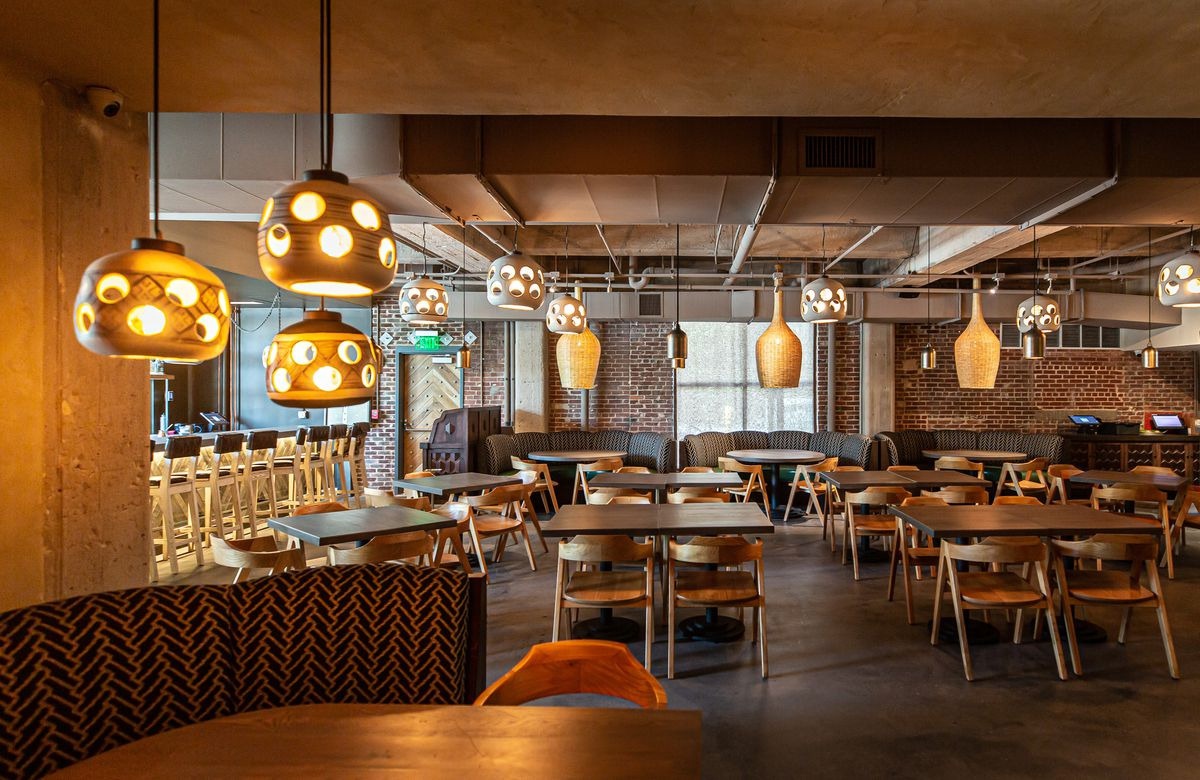 The dining room at Aziza at Westside Provisions District