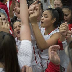 The East High Leopards celebrate following their 68-48 victory against Timpview in the Class 5A state championship game at Salt Lake Community College in Taylorsville on Saturday, Feb. 24, 2018.