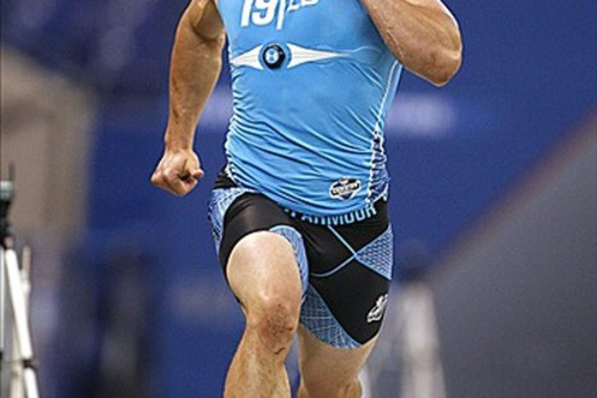 Feb 27, 2012; Indianapolis, IN, USA; Boston College linebacker Luke Kuechly runs the 40 yard dash during the NFL Combine at Lucas Oil Stadium. Mandatory Credit: Brian Spurlock-US PRESSWIRE