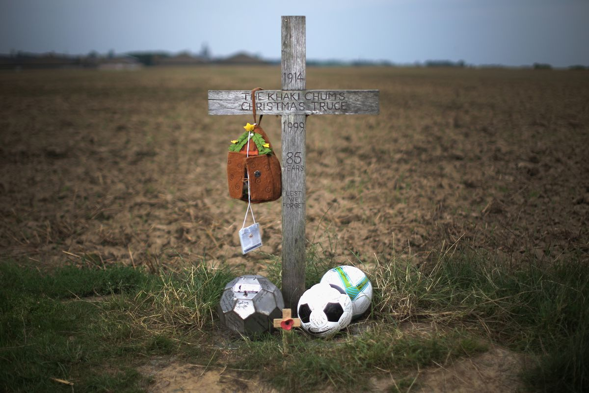 Commemorating the 1914 Christmas Truce football match in Flanders.
