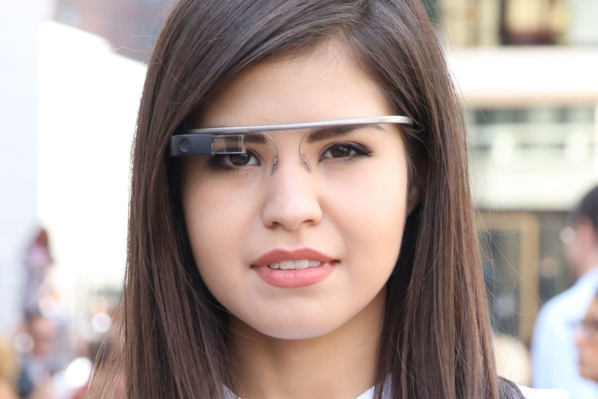 Fashion blogger Adriana Gastelum is seen wearing Google Glass on the Streets of Manhattan on September 5, 2013 in New York City.