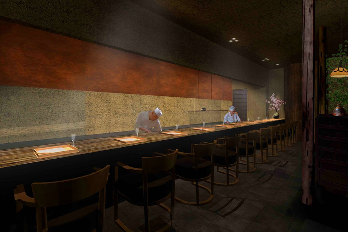 A rendering of the chef's counter seating at Kaiseki Sanga, a Kyoto-inspired restaurant set to debut in early 2020.