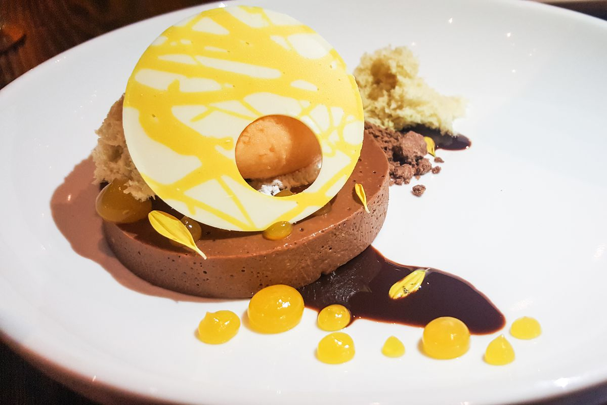 Chocolate and passion fruit custard at Cultivar