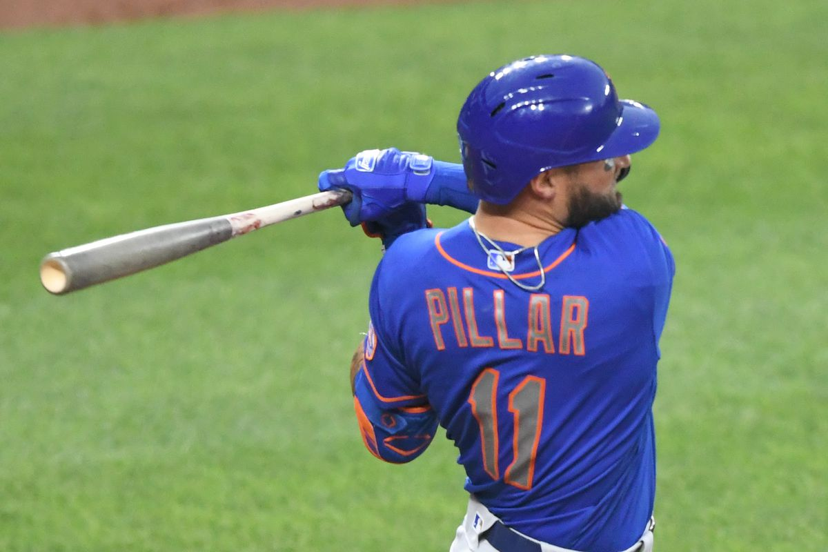 Kevin Pillar #11 of the New York Mets hits a three-run home run in the third inning against the Baltimore Orioles at Oriole Park at Camden Yards on June 9, 2021 in Baltimore, Maryland.