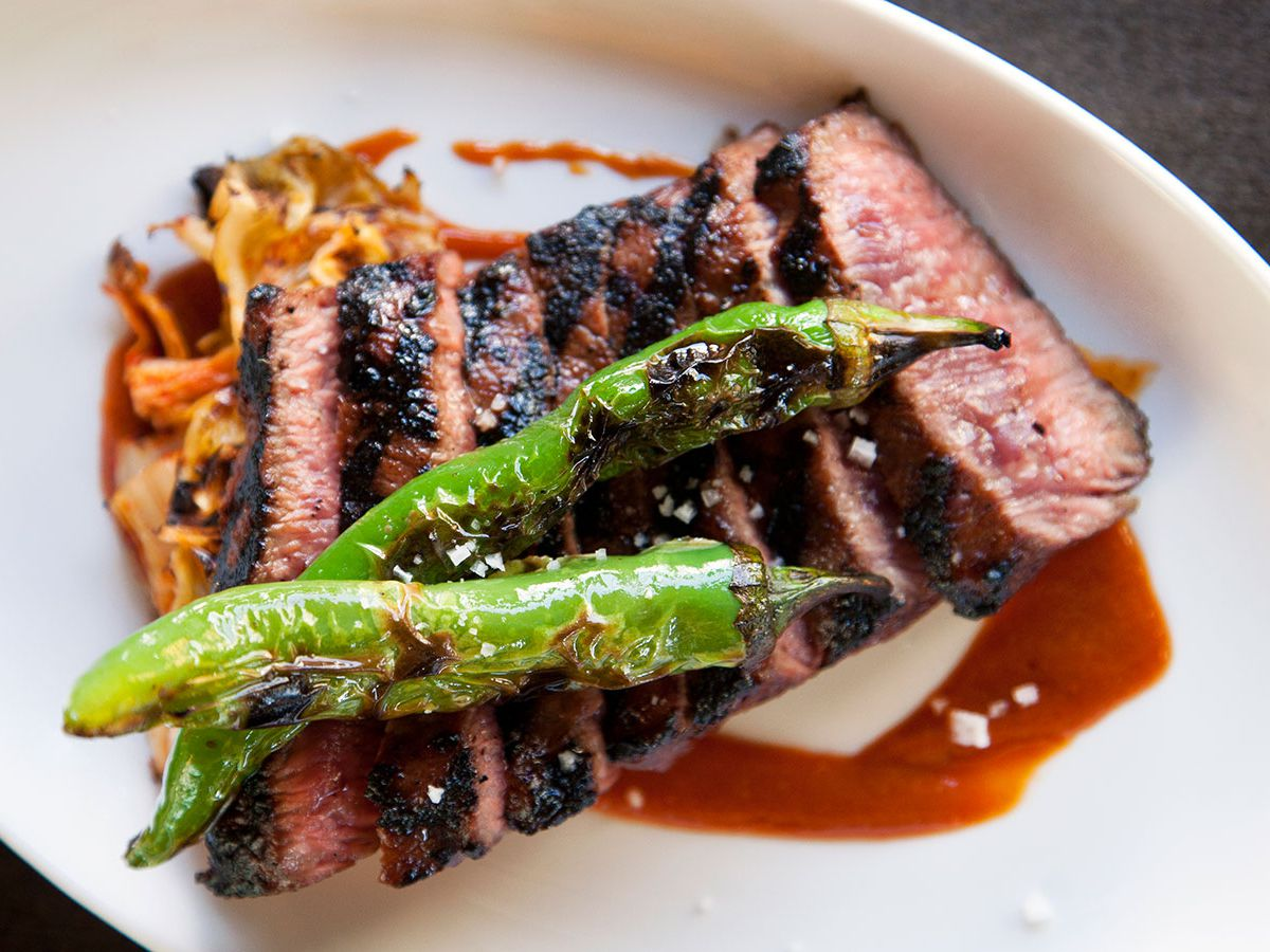 Joule's short rib steak with grilled peppers and kimchi, splashed with a brown sauce.