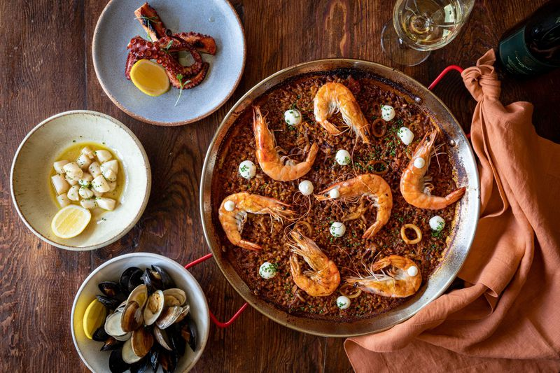 Mateo's seafarer paella with additional topping add-ons