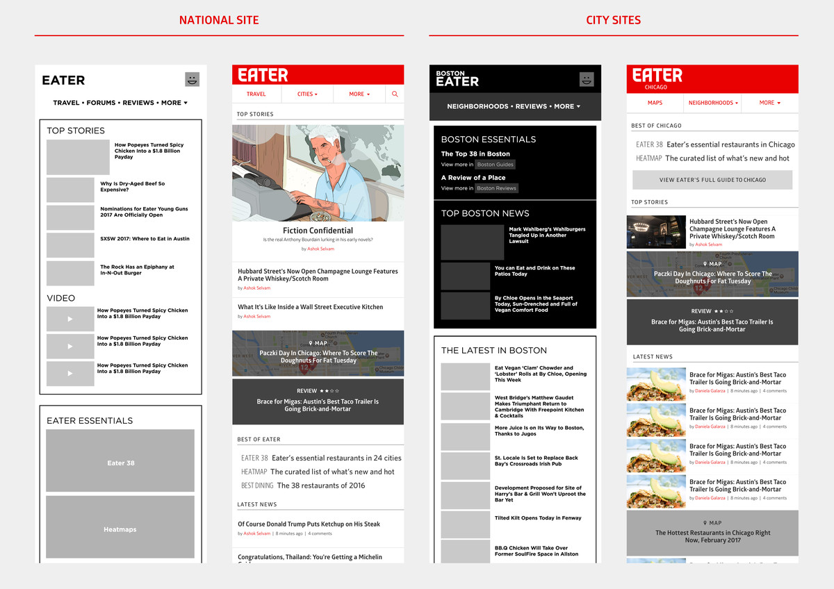 Four early mocks of the Eater homepage design