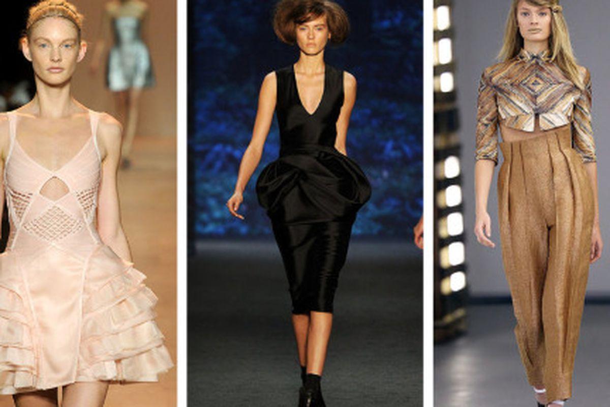 "Herve Leger tutu, Vera Wang's 80's dream, Rodarte's brants. Images via <a href=""http://www.fashionologie.com/Spring-2011-New-York-Fashion-Week-Herve-Leger-10991096?page=0,0,0#19"">Fashionologie</a>, <a href=""http://www.fashionologie.com/Spring-2011-N"