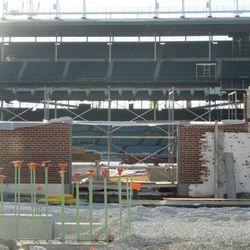 Right-field inner bleacher wall -