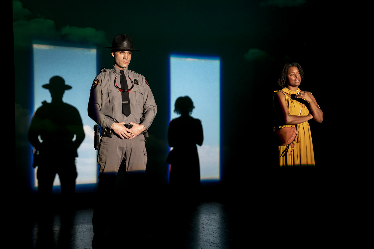 """Keith D. Gallagherstars as Brian and Aneisa J. Hicksstars as Janelle in """"graveyard shift"""" at the Goodman Theatre."""