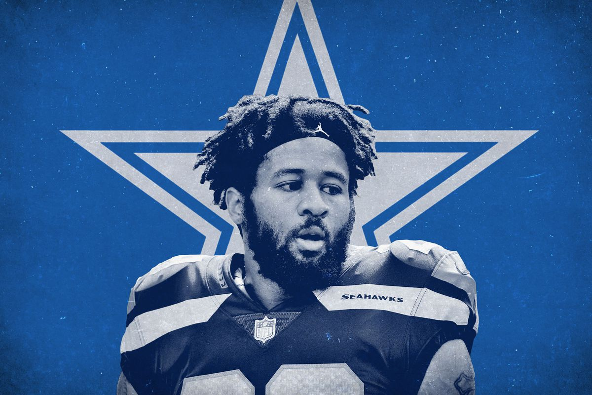 NFL free agent safety Earl Thomas III with the Dallas Cowboys star behind him