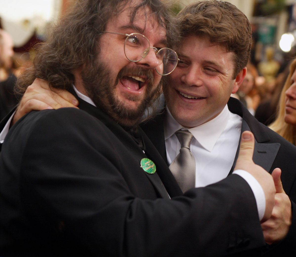 Director Peter Jackson (L) and actor Sean Astin arrive at the 74th annual Academy