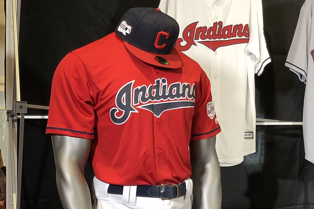 reputable site 8bc8f 0f427 Indians unveil new red uniforms, giant guitars, headless ...