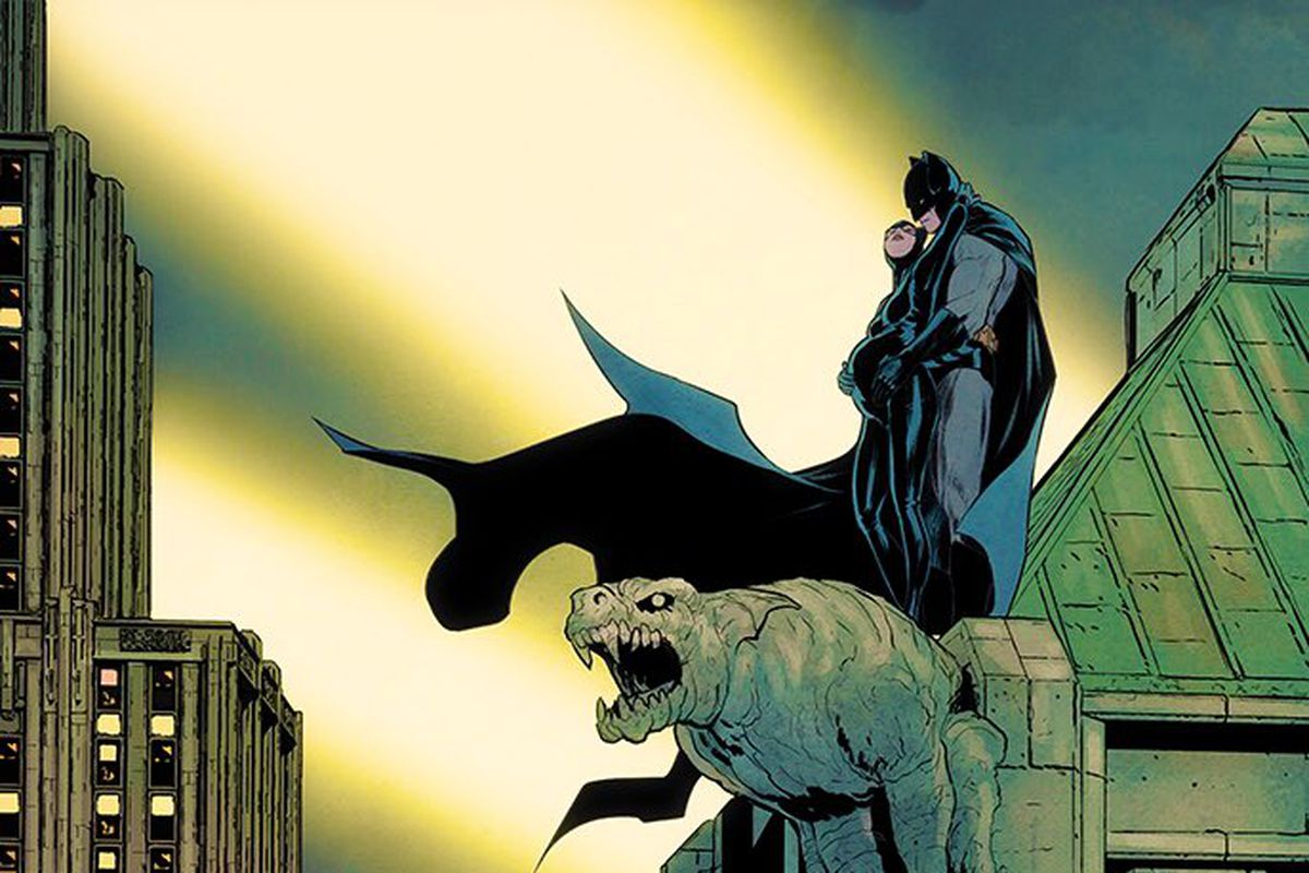 Catwoman and Batman embrace on a gargoyle. She is heavily pregnant. Art tweeted by writer Tom King.