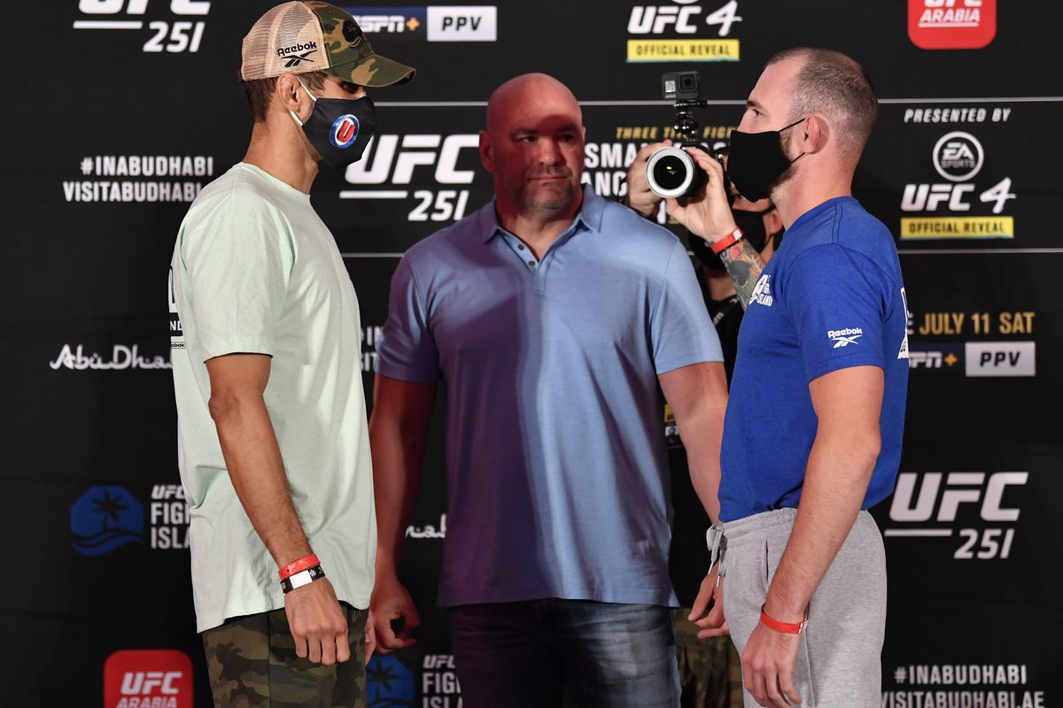 Opponents Leonardo Santos of Brazil and Roman Bogatov of Russia face off during the UFC 251 official weigh-in inside Flash Forum at UFC Fight Island on July 10, 2020 on Yas Island Abu Dhabi, United Arab Emirates.