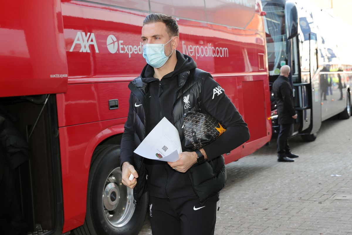 Jordan Henderson of Liverpool arrives ahead the Premier League match between Leicester City and Liverpool at The King Power Stadium on February 13, 2021 in Leicester, United Kingdom