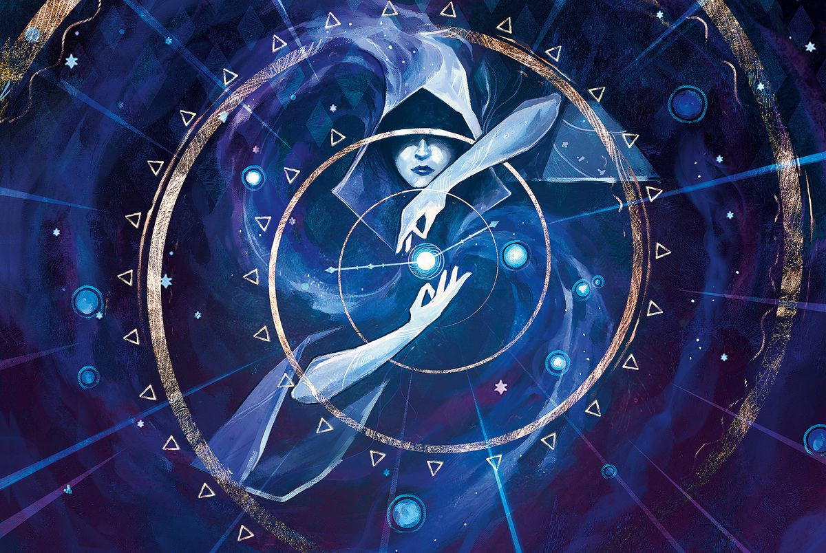 A wizards bending time against a blue background. Her hands are paired in a delicate, grasping pose around a blue flame or perhaps a star.