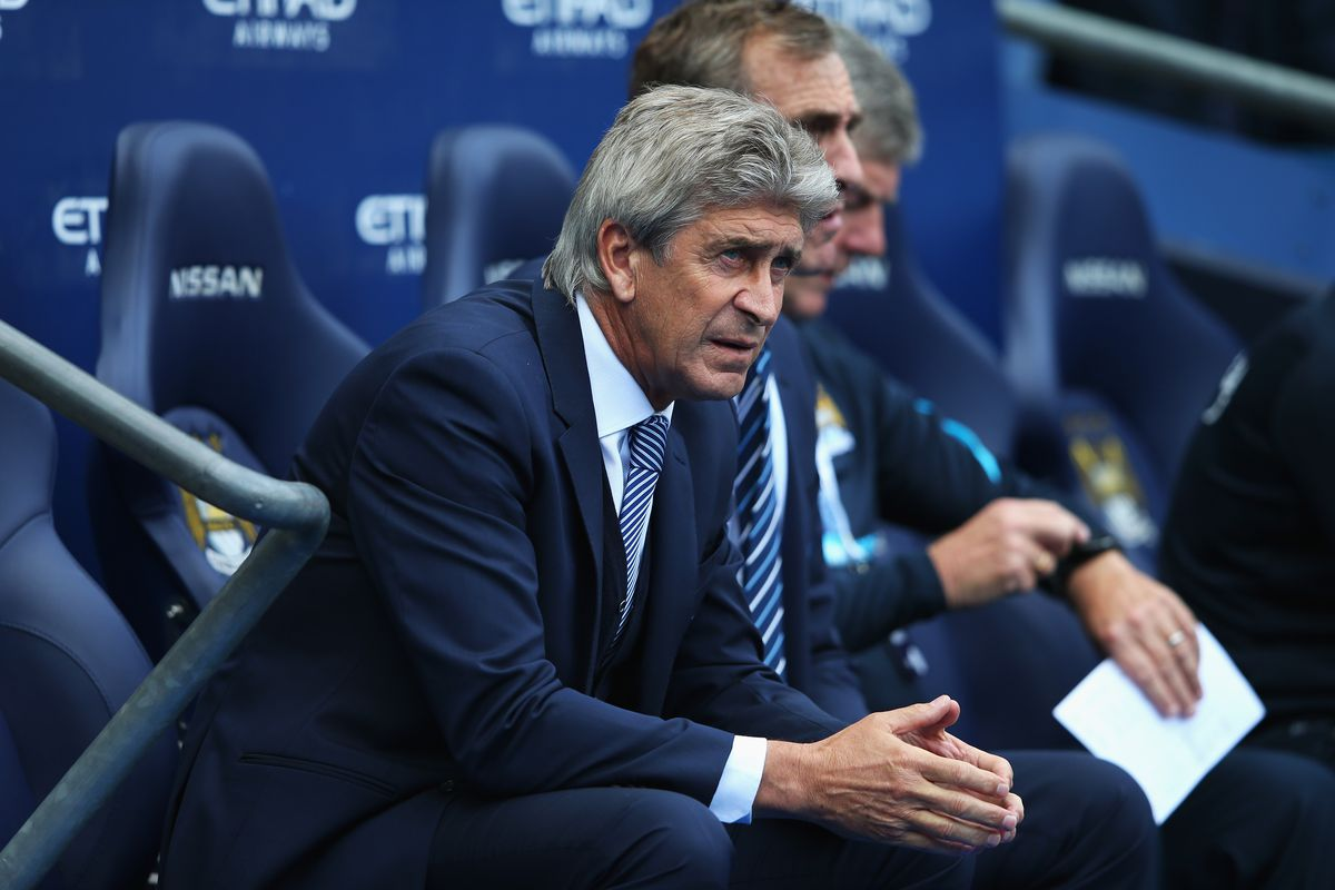 Manuel Pellegrini, manager of Manchester City looks on during the Barclays Premier League match between Manchester City and Chelsea at the Etihad Stadium on August 16, 2015 in Manchester, England.