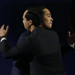 San Antonio Mayor Julian Castro, right, hugs his brother Joaquin Castro after his speech at the Democratic National Convention in Charlotte, N.C., on Tuesday, Sept. 4, 2012.