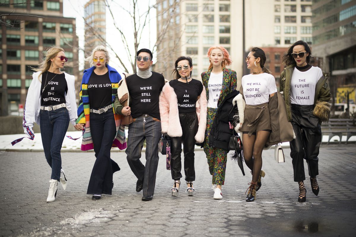 Fashion industry figures are seen wearing Prabal Gurung statement shirts during New York Fashion Week on February 13, 2017