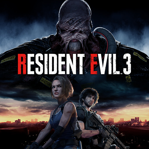 Cover art for Resident Evil 3 remake includes the protagonists, with Jill Valentine, in the foreground. Looming in the background is the lipless Nemesis boss.
