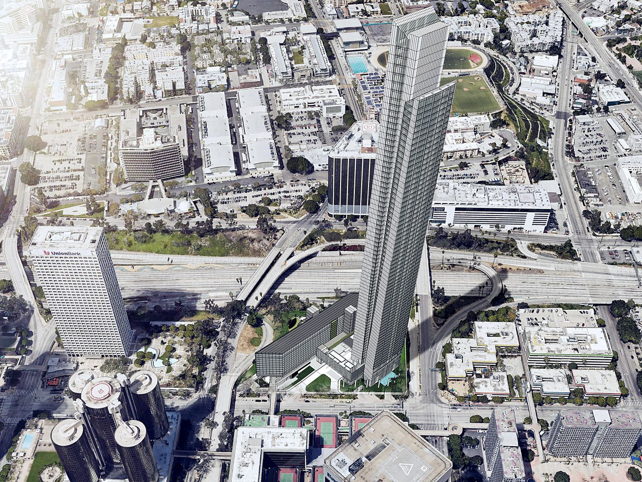 At 1,107 feet tall, the tower would be seven feet taller than the Wilshire Grand.