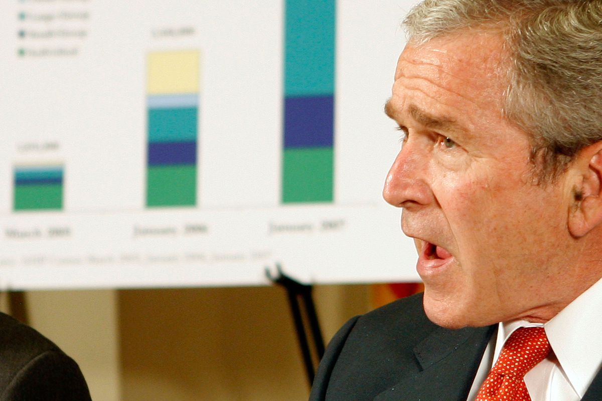 US President George W. Bush speaks during a meeting on health savings accounts at the White House April 1, 2007, in Washington DC.