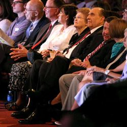President Thomas S. Monson and his wife, Frances, watch Golden Days, A Celebration of Life, in honor of his 85th birthday at the LDS Conference Center in Salt Lake City on Friday, Aug. 17, 2012.