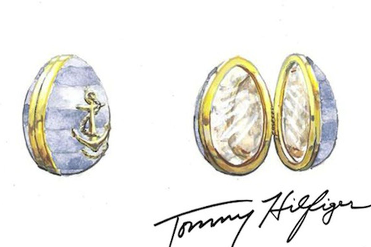 """A sketch of the Tommy Hilfiger-designed egg; Image via <a href=""""http://www.wwd.com/accessories-news/jewelry/designers-team-with-faberg-on-big-egg-hunt-7395760"""">WWD</a>"""
