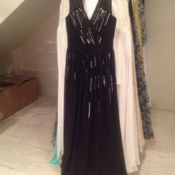 Embellished chiffon gown, $275